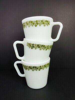 Vintage Retro 3 Pyrex Green Flowers No 1410 Mugs Coffee Cups 300 ml 10.14 oz. 4