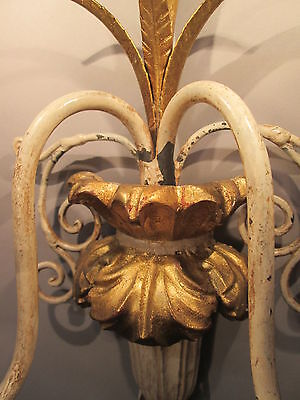 "Vintage Antique Pair Italian Tole Wheat Gold Gilt Wall Sconce Lights  22"" x 9"" 9"