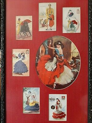 USED Mailed from Spain Woman Vintage Framed 1958 Spanish Lace Postcard