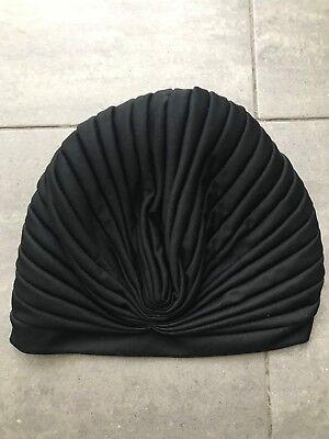 Turbante nero a pieghe pleated black turban 2