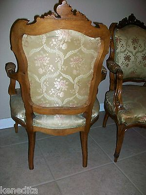 1900 Pair Antique French 2 Chairs Victorian Regency Parlor Fauteuil Louis XVII 5
