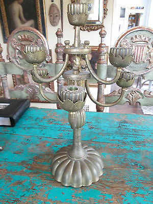 Antique Bronze Candelbra From Chandara India Circ. 1900 3
