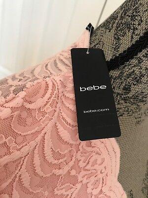 New Bebe Scallop Lace Deep V Romper Color Pink Size 6 9