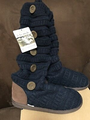 Mukluks Slouch Sweater Boot Size 9 Navy/Brown Warm Fun Super Cute!!! 6