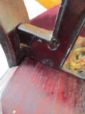 Antique Chinese Wedding Basket Hidden Wood Lock w/Gold Carved Figures Brass Band 4