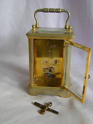 ANTIQUE c1880 FRANCOIS ARSENE MARGAINE TIMEPIECE CARRIAGE CLOCK + KEY IN GWO 8
