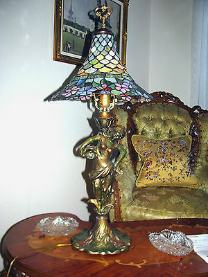 Vtg Deco Victorian Figurine Figural Table Lamp Chandelier Glass Shade Fixture 2