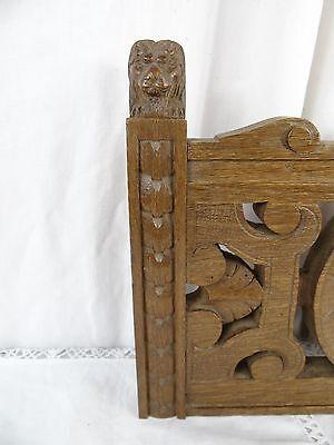 """14"" Antique French Oak Wood Carved Pediment Panel Ornament - Lions 2"