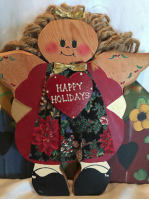 Wooden Yard Folk Art Lawn Or Patio Decorations Bird Houses And  A Holiday Angel 4
