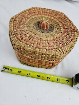 Nice native american? hexagonal covered weaved box 11