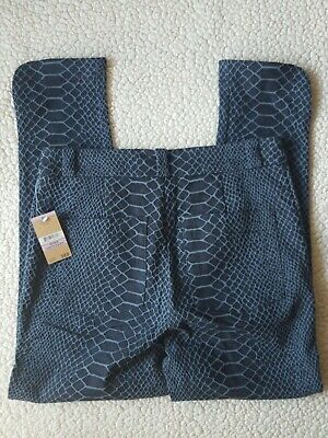 NEW Rachel Roy Blue Sky Thinking Snake Print Size 6 Pants Stretch Ankle Casual 4