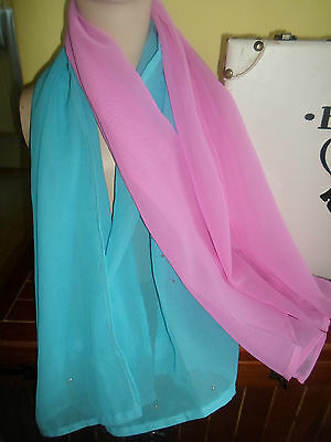 2 NEW Mixed Fibre Ladies Scarf 1 x Cerise Pink 1 x Sky Blue Gift Idea #46 2