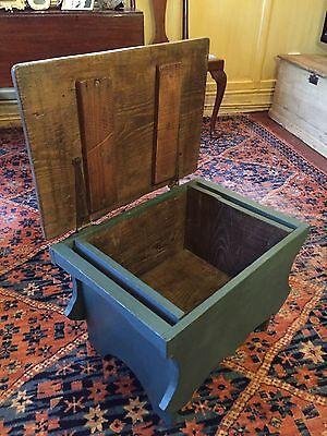 Early Six Plank Pine Footstool Storage Stool Sewing Storage Box 2