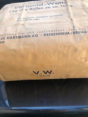 Verbandwatte Paul Hartmann Heidenheim Ovp 2/1959 Dampf Steril 6 Rollen 167g 1Kg 5