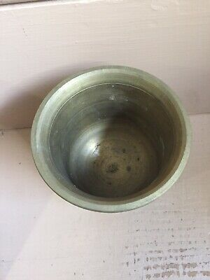 """Vintage Brass Mortar And Pestle, 6"""" High 4 3/4 Diameter, Solid Brass, Heavy 6lbs 9"""