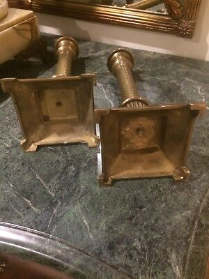 Antique Pair of Gilt Bronze French Empire Candlesticks Candle Holders 10