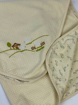 ABSORBA Light Yellow Baby Blanket Lovey Sheep Quilted Reversible 30x28 4