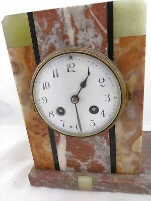 Art Deco French Marti of Paris Variegated Marble Figural Mantle Clock ca.1920 9
