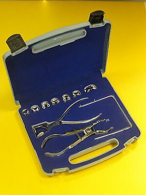 10 Pc Dental Restorative Rubber Dam Kit Clamps Punch Pliers Rubber Dam Frame kit 2