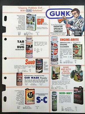 """Vintage 1978 GUNK """"Cleaning Problems End..With GUNK Solutions"""" Jobbers Catalog 7"""
