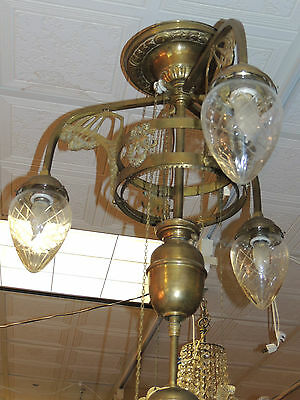 19th Century Art Nouveau Chandelier -Czech converted oil Fixture, beading, glass