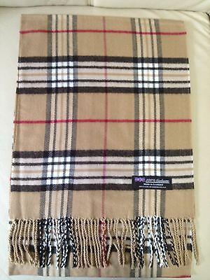 100% Cashmere Scarf Made In Scotland Plaid Design Beige Color Super Soft