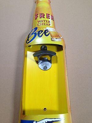 Blechschild 46x13cm Bier Flasche mit Öffner: Free Beer - cheap water -Pub Kneipe