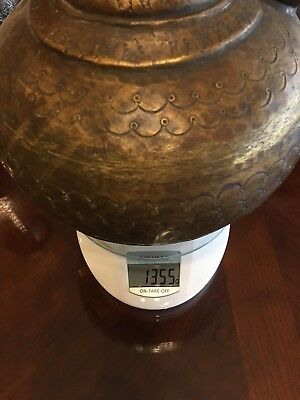 "Antique 18th c. Ottoman Turkish Hand Chased Copper IBRIK Water Ewer, 12"" 10"