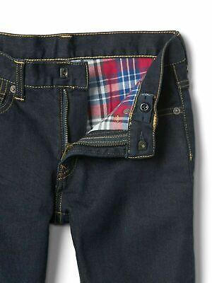 Boys` New GAP Flannel Lined Warm Winter Jeans Age 12 Dark Blue 2