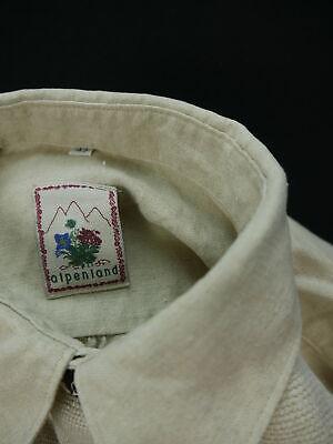 Gr.XL Trachtenhemd Alpenland beige dünnes Leinen mit Kreuzstich Stickerei TH995 3