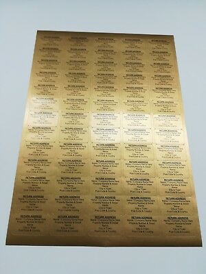 Personalised Printed Sticky Address Labels Stickers White Gold Silver A4 Sheets 3