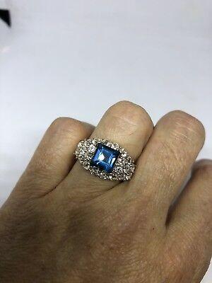 Deco Genuine London Blue Topaz Vintage 925 Sterling Silver Size 7 Ring 2