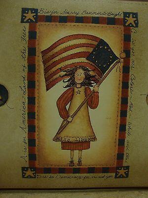 LADY LIBERTY ANGEL HEART FLAG AND BASKET AAI 08121 PATRIOTIC BORDER