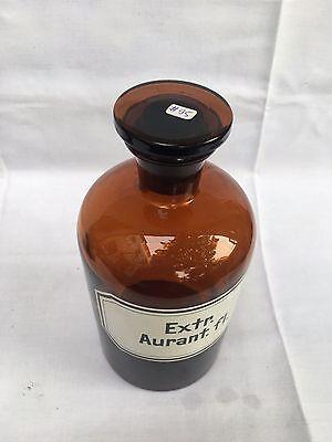 alte Apothekerflasche Braunglas Gefäß Apotheke 22cm Extr. Aurant.fl. #95