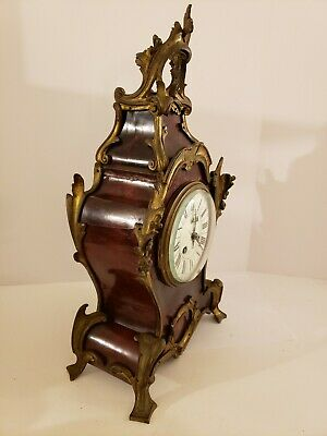 Antique 1855 V. Depose French Boulle Victorian Red Shell Bracket Mantel Clock 4