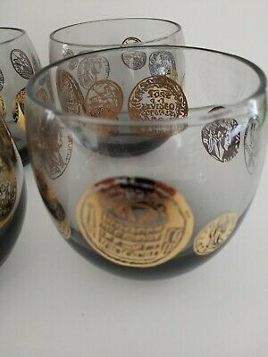 Set of 8 old fashion style mid century modern tinted bar glasses 2