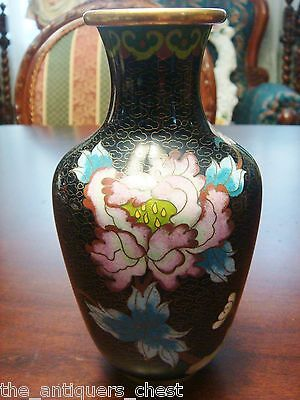 Antique Chinese Vase Cloisonne Red Chrysanthemum Flowers On Black