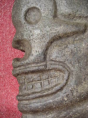 Mayan Skull Form Basalt Hacha from an Old California Collection with Data Tag 4