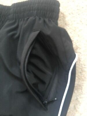 "Girls Black Lined Tracksuit Trousers With Side Zipped Legs Size 26"" Waist 2"