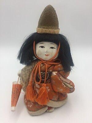 Antique Vtg Japanese Gofun Stocky Hina Doll Silk Kimono Glass Eyes Festival Hat 2