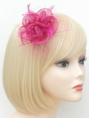 Fuchsia Pink Fascinator Brooch Clip Hair Feather Flower Wedding Ladies Day Races 9