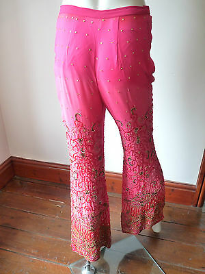 Asian Wedding Cerise Pink & Red Trouser Suit With Scarf   M   Ret £350   Bnwt 11