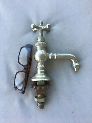 Early Antique Nickel Brass Hot Or Cold Sink Faucet E.STEBBINS Plumbing 220-19 4