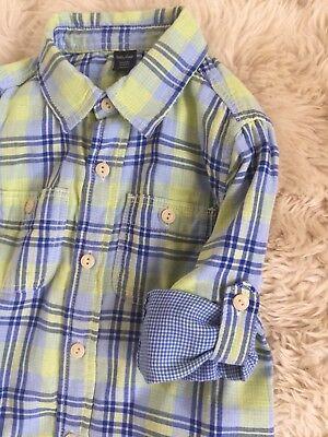Toddler Boy Baby Gap Plaid Check Print Blue Green Button Down Shirt New 2Y 6