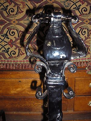 Monumental Pair of Antique Arts And Crafts Wrought Iron Andirons 3