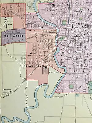 LARGE 21 X 28 COLOR Rand McNally Map of Indianapolis IN1905