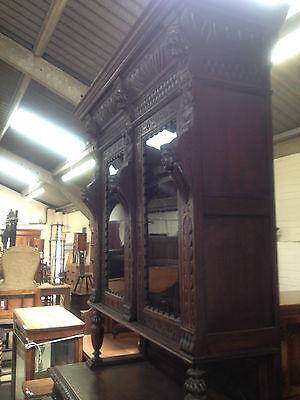 Carved Victorian Oak Library Bookcase Angel Dresser GreenMan LionsHead PussyOak1 3