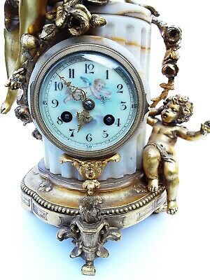 Antique French Onyx Marble Mantel Clock With Cherubs Gilt Bronze 8 Day 19Th C 7
