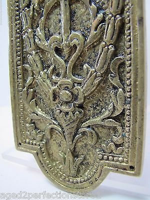 Antique Door Push Plate ornate flame torch ribbons bows floral old brass bronze 8