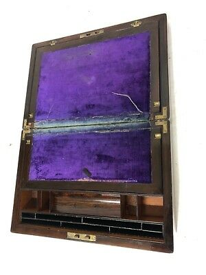 Antique Rosewood & Mother of Pearl Inlaid Writing Box / Slope for Restoration 9